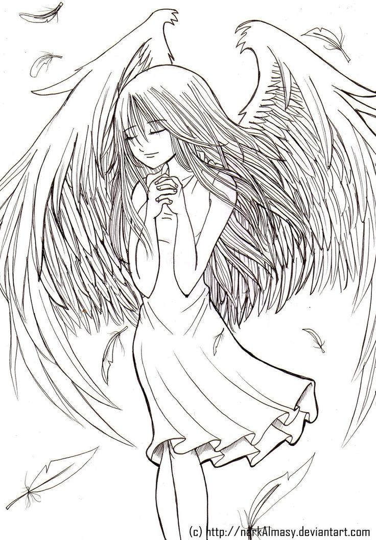 White Angel Sketch by DayseRosi on DeviantArt   Anime Angel Coloring Pages