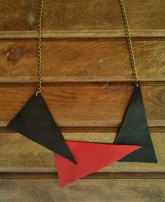 Black & Red Geometric Leather Bib Statement Necklace by MikaMikaBags