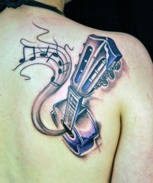 tatuaże muzyczne gitara 3d