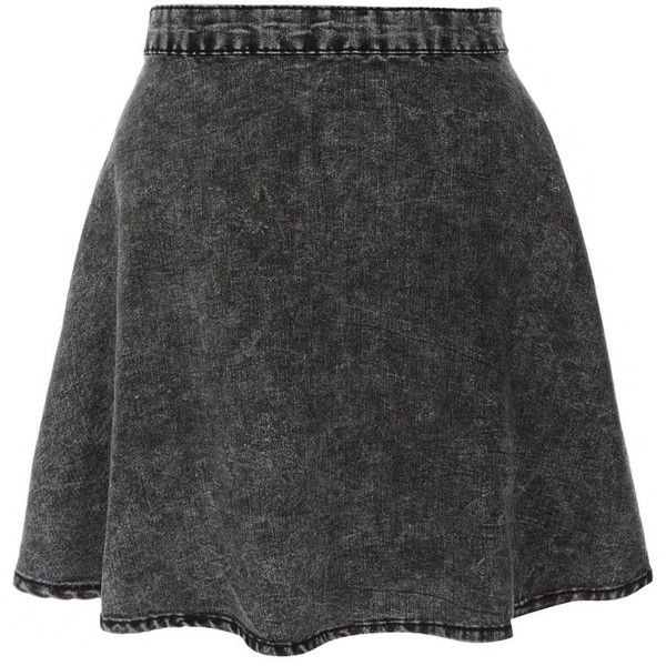 Charcoal Acid Wash Skater Skirt ($8.74) ❤ liked on Polyvore featuring skirts, bottoms, saias, faldas, charcoal grey skirt, circle skirt, denim skater skirt, charcoal gray skirt and flared skirt