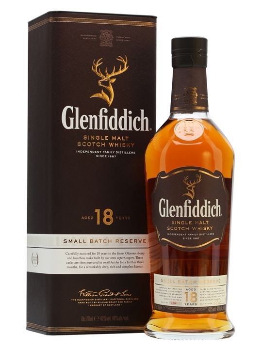 Glenfiddich 18 anni - Single malt dello Speyside invecchiato in botti di sherry e bourbon, fruttato con accenni di cannella (da provare, piuttosto quotato e di un brand storico, storia e localizzazione geografica parlano da se comunque)