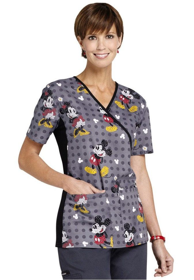 Cherokee Flexibles Tooniforms Text Me Mickey print scrub top. - Scrubs and Beyond GET SMALL