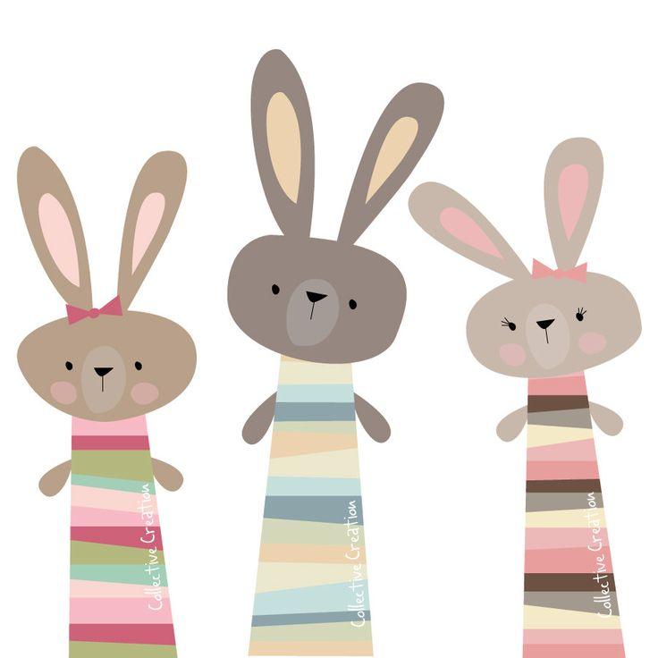 Tres pequeños conejos Digital Clip Art uso por CollectiveCreation
