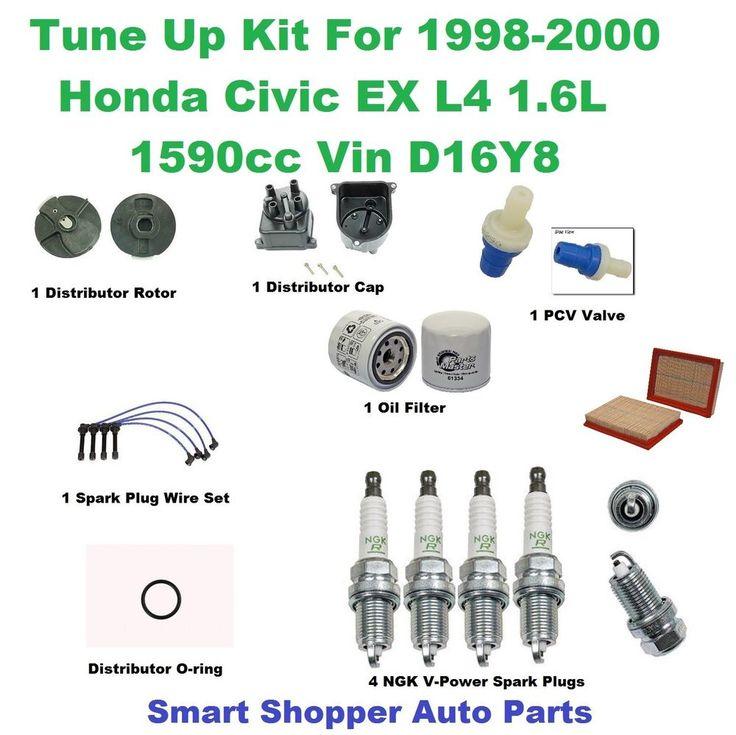 Tune Up Kit For 98-00 Civic EX L4 1.6L Spark Plug Wire Set, Oil Filter, PCV Valv #AftermarketProducts