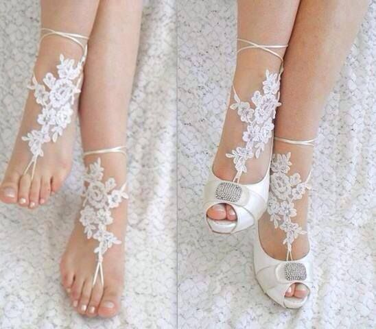 barefoot sandals with a simple flat or heel as a wedding shoe.