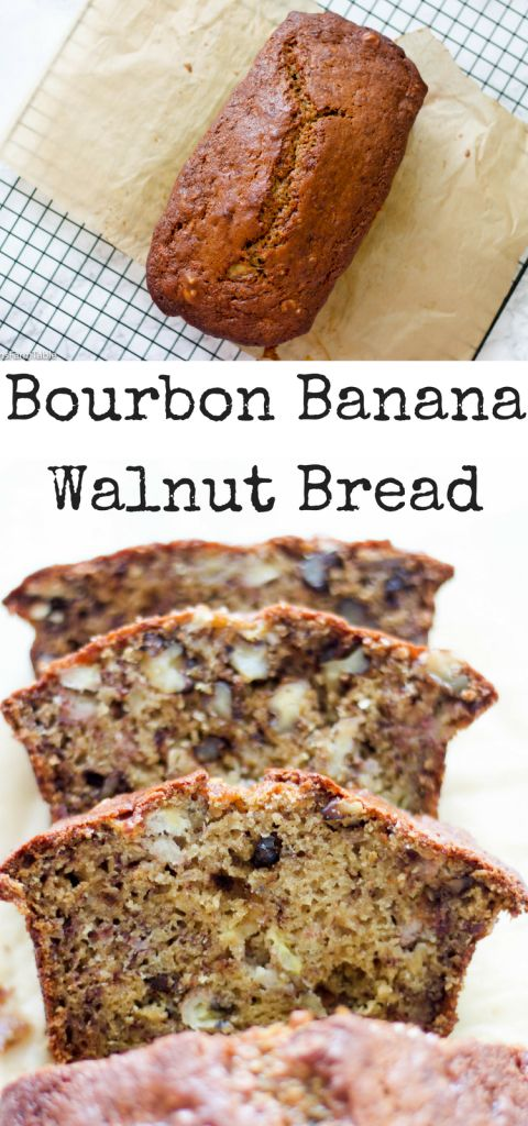 Absolute best Banana Bread recipe with a splash of bourbon and a handful of walnuts. Bourbon Banana Walnut bread is perfect for brunch or Father's Day.