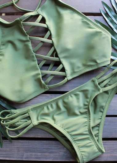 Olive Green High Neck Lattice Cut Out Bikini Set