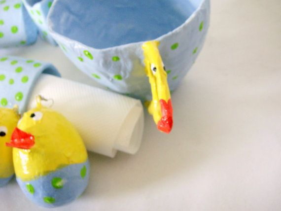 papier mache cup and towel rings Easter set by papiera