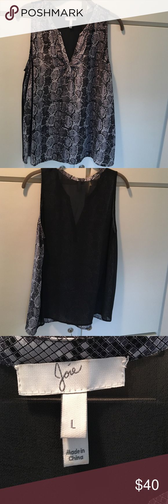 Joie Python printing front black back  100% silk Joie Python printing front the back is black. 100% silk Joie Tops Tank Tops