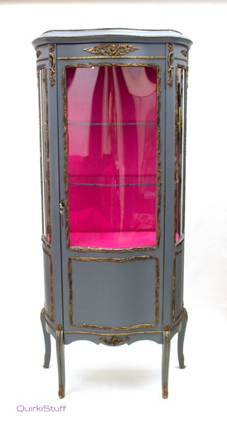 Glass Display Cabinet (Grey/Magenta)
