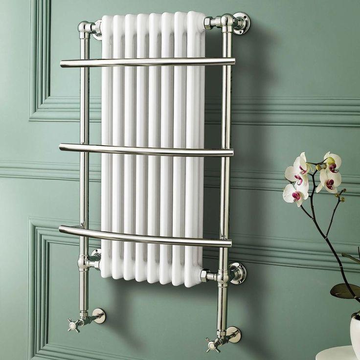 Traditional Chrome Heated Towel Rail Bathroom White Cast Iron Radiator RT09 DD in Home, Furniture & DIY, Bath, Towel Rails | eBay