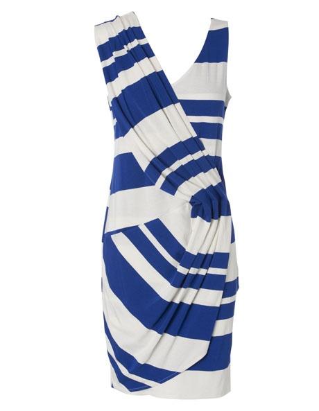 Brave by Wayne Cooper - Electric Blue Stripe Shoulder Drape Dress