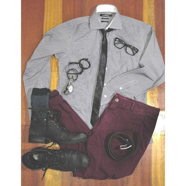 Camisa Xadrez, Calça Burgundy, Bota Preta Masculina, Gravata Slim, Macho Moda - Blog de Moda Masculina: Macho Moda: Roube o Look #07