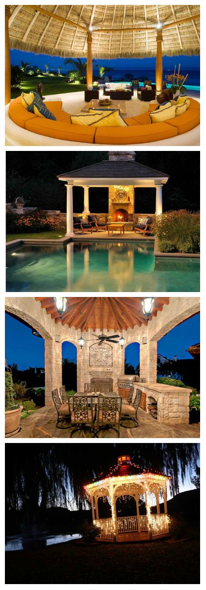 20 Amazingly Gorgeous Gazebo Lighting      According to our all-knowing friend Wikipedia, a gazebo is a pavilion structure, sometimes octagonal or turret-shaped, often built in a park, garden or spacious public area. Gazebos are freestanding or attached to a garden wall, roofed, and open on...