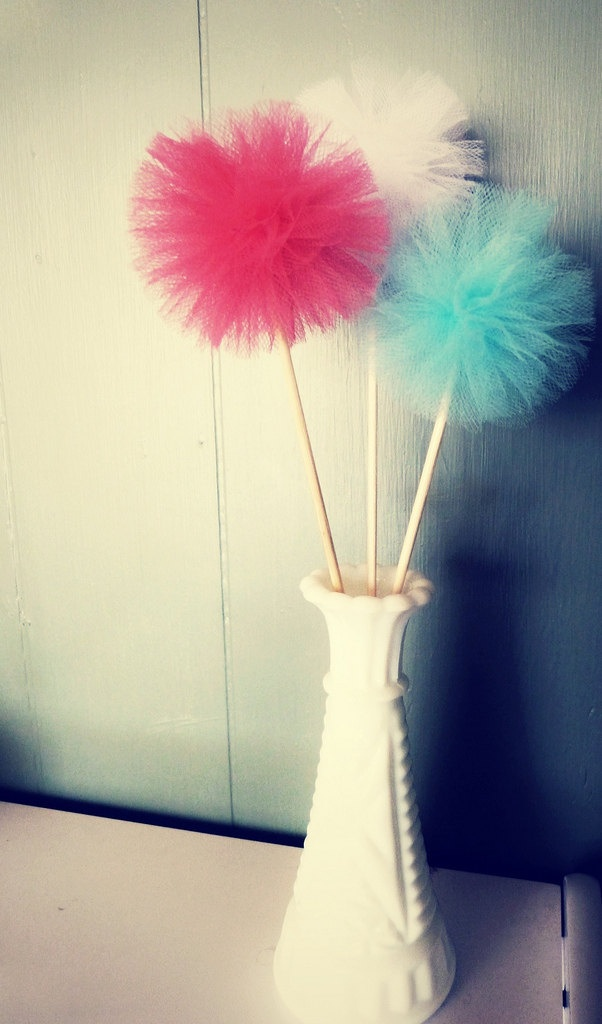 Party Pom Picks - small tulle pom pom decorations, cake toppers, wedding favors - 34 color choices. $3.00, via Etsy.