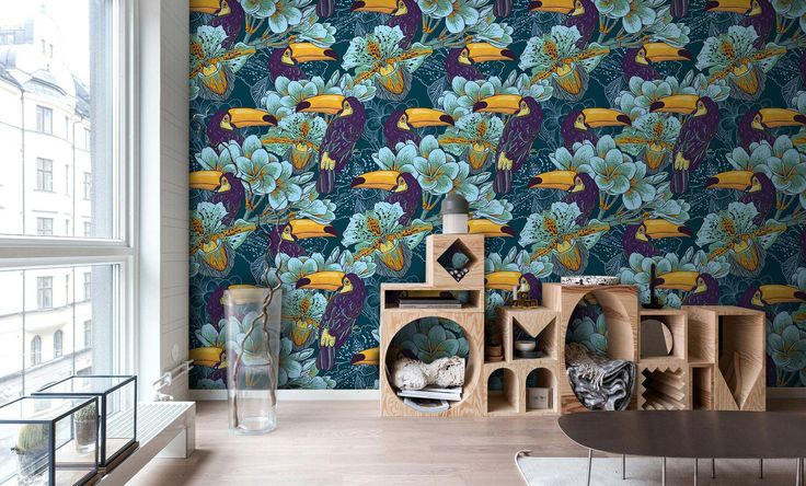 Tropical wallpaper with birds