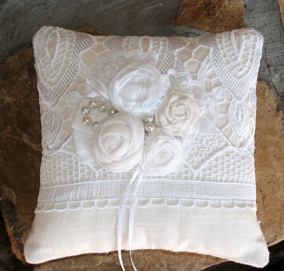 Traditional Wedding Ring Pillow : Lace is a must for any traditional, country chic, or vintage wedding! Spice it up with a colored ...