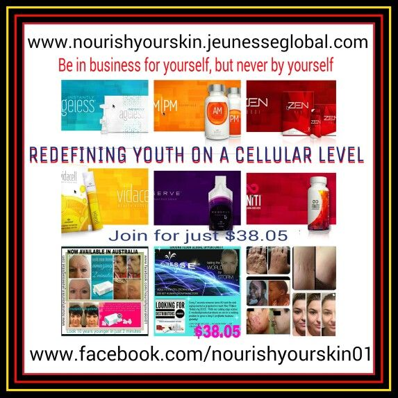 Be in business for yourself, but never by yourself. Amazing products that are Redefining Youth.  Just $ 38.05 will get you started with your very own replicated online store. Work the hours that suit you from anywhere in the world  www.facebook.com/nourishyourskin01  Www.nourishyourskin.jeunesseglobal.com