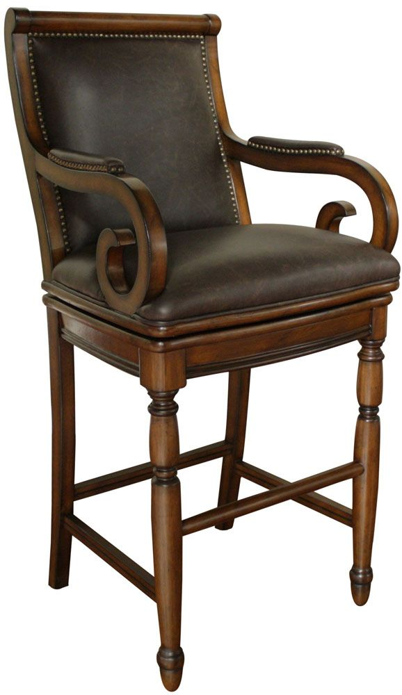 American Heritage Billiards Braxton Canyon Bar Stool With Wenge Leather  Cushion On SALE