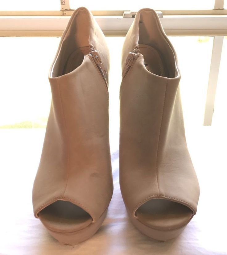 Taupe Faux Suede Peep Toe Platform Wedge Bootie Heel Dollhouse Size 8  #Dollhouse #Bootie