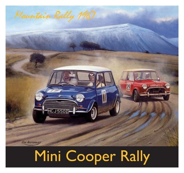 Blank Inside 6.5 x 6 Inches Mini Cooper Rally Greeting Card
