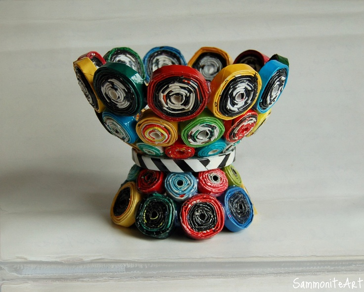 Rolled recycled magazines