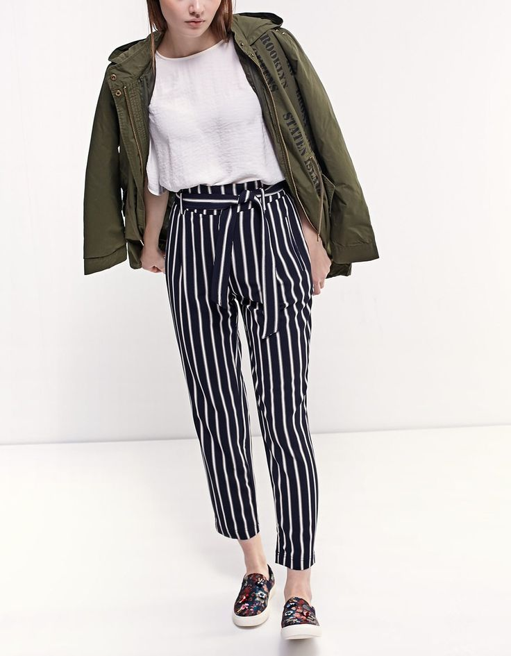 Loose-fitting paperbag trousers - Trousers | Stradivarius Ukraine