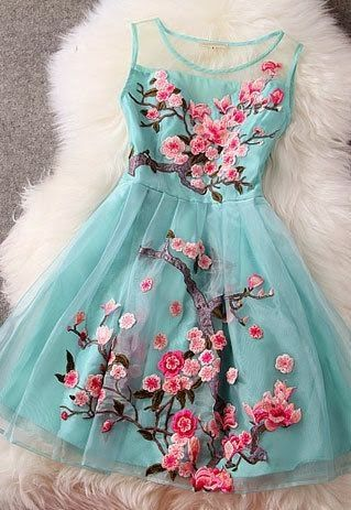 Mint floral sleeveless mini embroidered dress