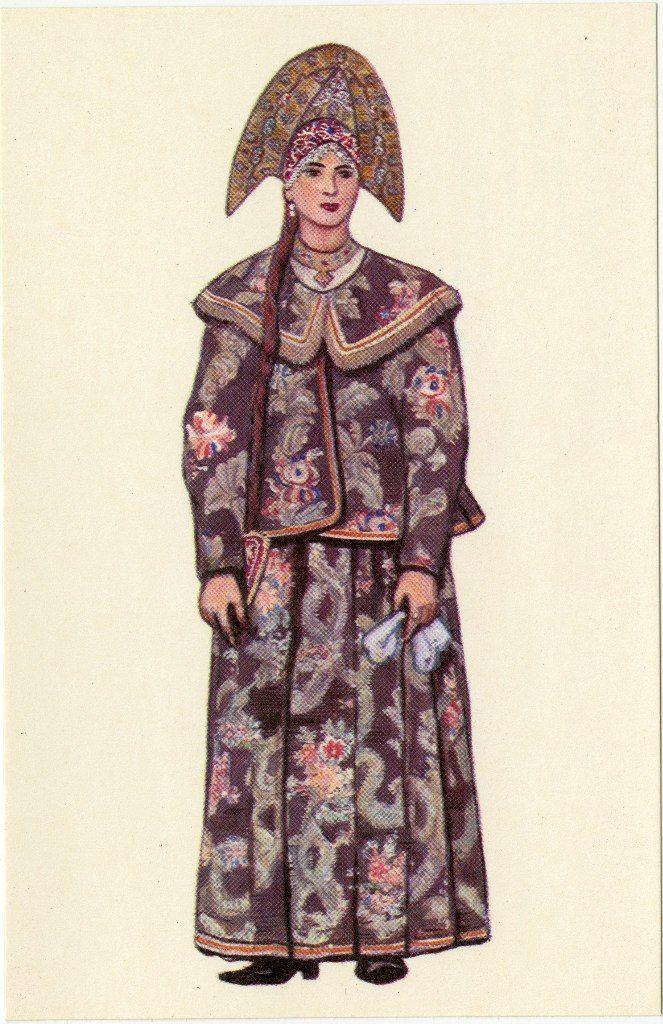 Праздничный женский костюм Костромской губернии. Художник Н. Виноградова, 1969 г. Woman Sunday clothes, Kostroma Province. Drawing by N. Vinogradova, 1969.