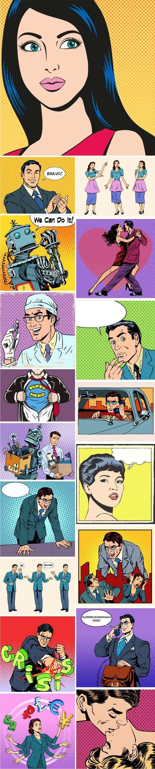 Ретро комиксы, иллюстрации людей   Pop Art. Comic retro people - 2, 65xEPS