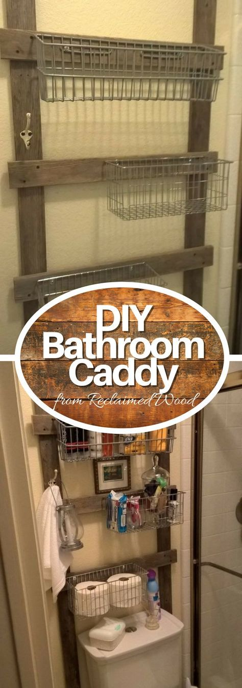 Check out how to build a DIY rustic reclaimed wood bathroom storage caddy @istandarddesign