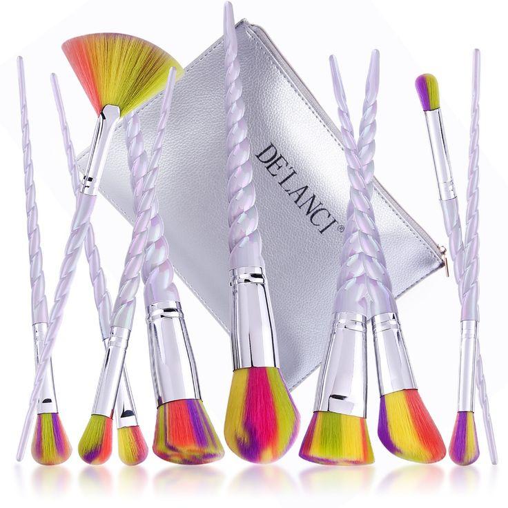 De'lanci pennelli trucco 10 pz spazzola di trucco set con colorful forma di maniglia capelli sintetici elicoidale in polvere ombretto make up brush