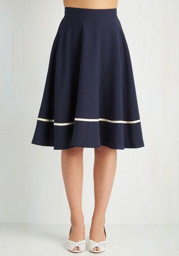 1940s 1950s retro skirt. Streak of Success Skirt in Navy $59.99 AT vintagedancer.com