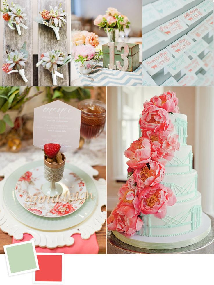 Create a sense of whimsy with this happy pairing—mint has a preppy feel while coral keeps things fresh and cheerful. Mix them with gold or even copper for a super-luxe look. This palette would be perfect for a late-spring or summer celebration or a destination wedding someplace tropical.