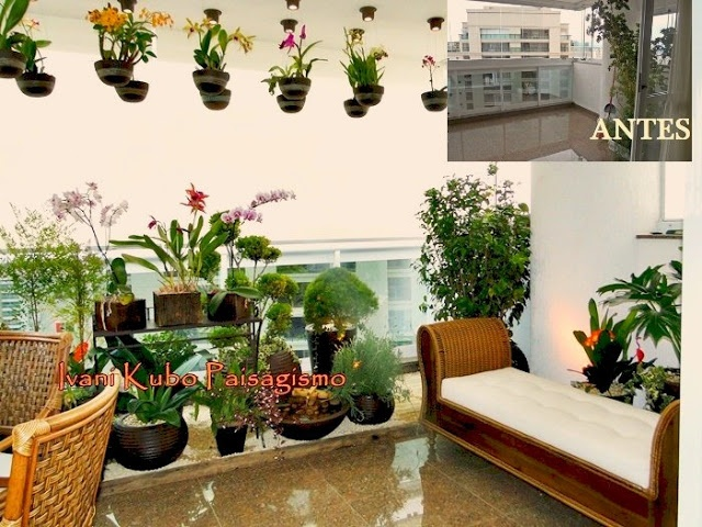 ideias para jardim em apartamento:Jardim em varanda de apartamento com orquidário flutuante