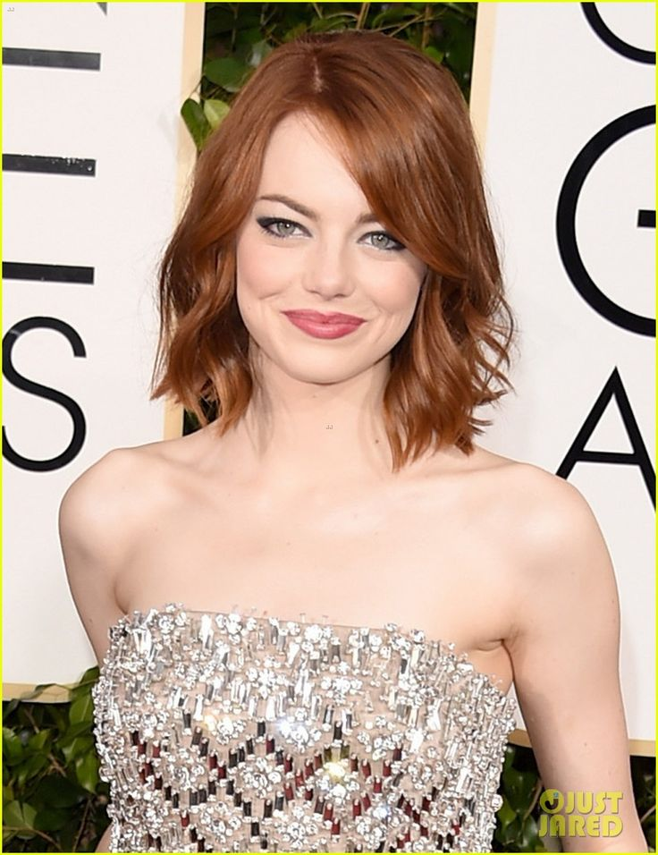 Emma Stone Golden Globes 2015! Interesting use of some coloured crystals as part of the embellished detailing