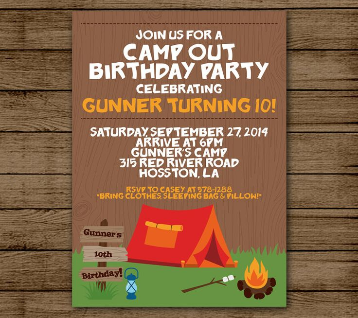 Birthday Party Invitation Camp Out Customized Boy Birthday Camp Fire Invite Party Smores 5x7 Digital File Printable JPEG PDF DIY by andyneal331 on Etsy