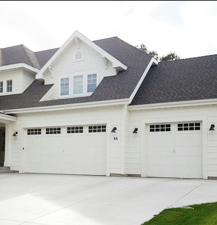 Best Garage Door Options All White House Black Roof White 400 x 300