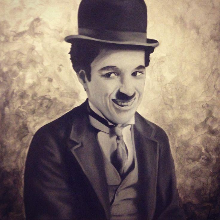 Oil painting of Charlie Chaplin, 60 x 60cm, 2015 Mirjam Kämmerer