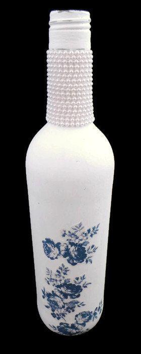 White Decorated Bottle, Shabby Chic Altered Bottle, Lovely Candlestick Holder, Decoupage Bottle, Original Gifts for Her, Custom Wedding Gift