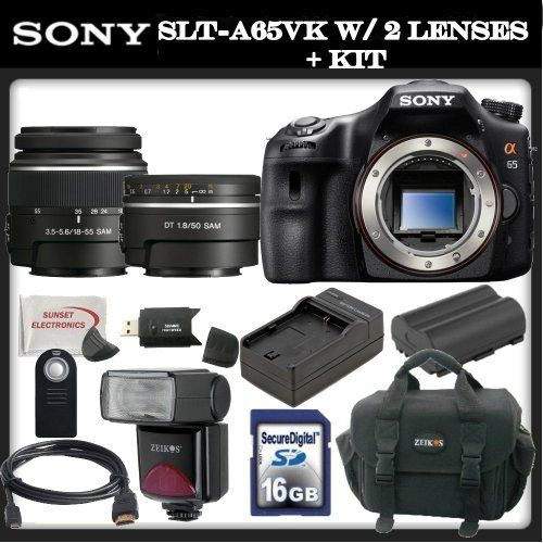 Sony a (alpha) SLT-A65VK - Digital camera - SLR - 24.3 Mpix - Sony DT 18-55mm lens - Sony 50mm f/1.8 DT AF Lens - SSE Package: Wireless Remote, Replacement FM500H Battery, Rapid Travel Charger, 16GB SDHC Memory Card, Card Reader, Shoe Mount Flash, Carrying Case, HDMI Cable & SSE Microfiber Cleaning Cloth - http://slrscameras.everythingreviews.net/2552/sony-a-alpha-slt-a65vk-digital-camera-slr-24-3-mpix-sony-dt-18-55mm-lens-sony-50mm-f1-8-dt-af-lens-sse-package-wireless-remote