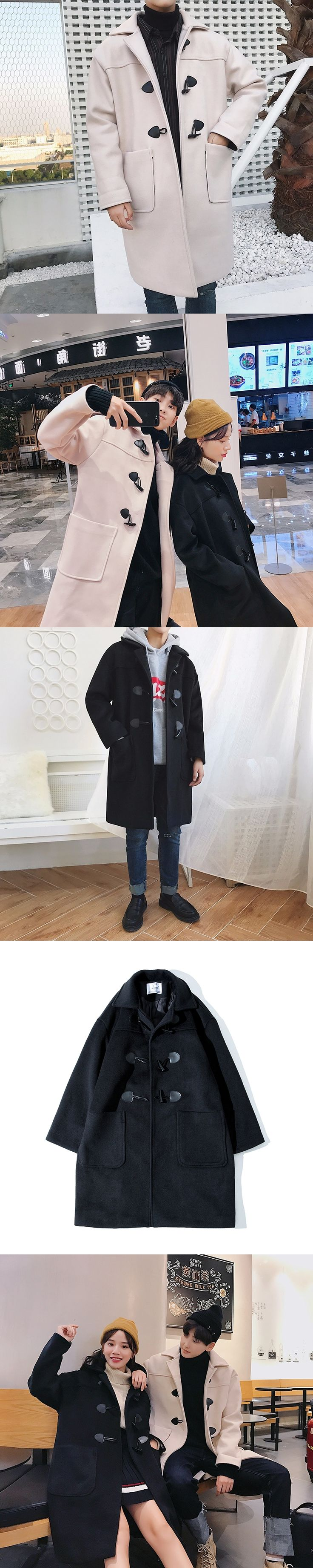 2017 Winter New Men Fashion Woolen Blends Horn Buckle Turn-down Collar Loose Casual Mid-Long Overcoat Lovers Clothes Coats S-xl