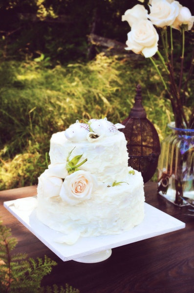 White with flowy frosting