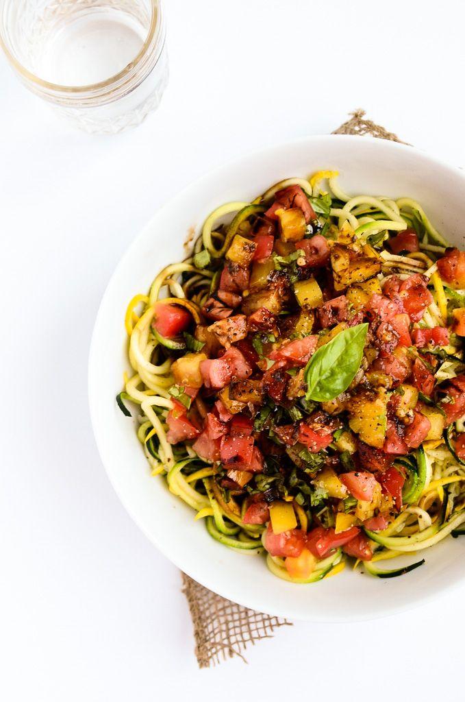 Heirloom Tomato, Basil and Balsamic Zucchini Noodles   vegan, gluten-free