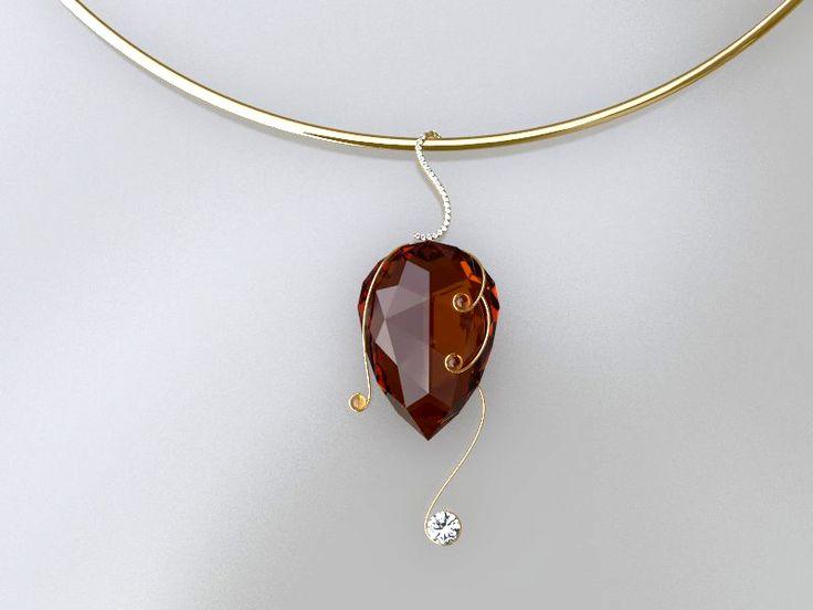 Gargantilha de ouro,com quartzo limão, lapidado, fio de ouro e brihante.O aro, é ornamentado com pequenas ametistas.