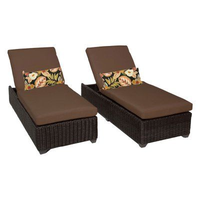 TK Classics Venice Outdoor Chaise Lounge - Set of 2 Chairs and Cushion Covers Cocoa - VENICE-2X-COCOA