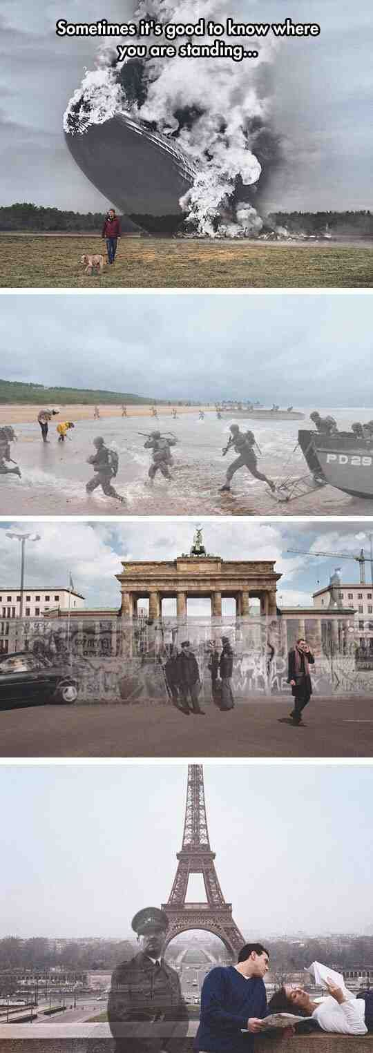 So someone superimposed pictures of the past and present...