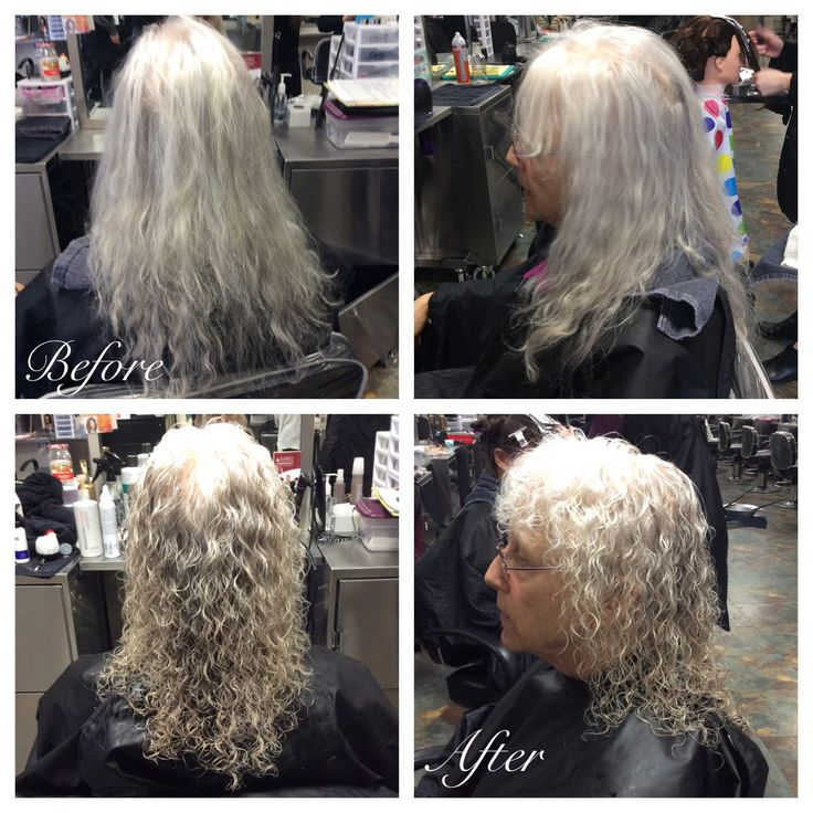 Spiral curl perm using alternating grey and white rods. 11/3/16. Styled with Potion 9.