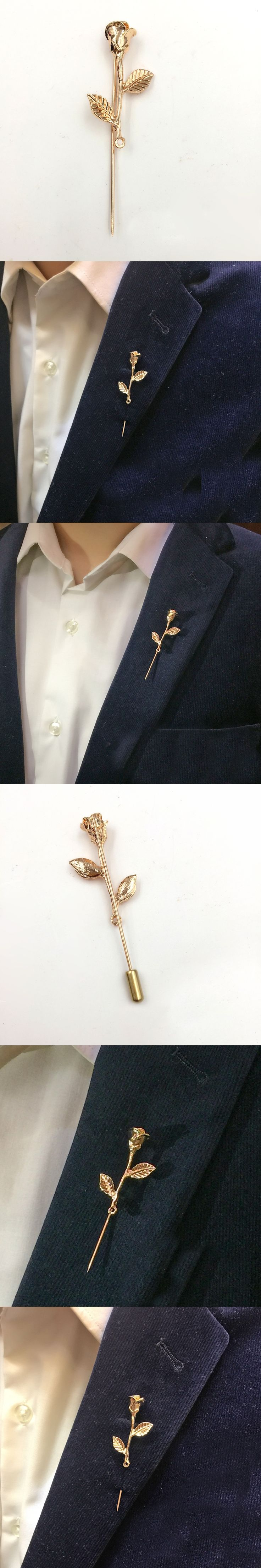 Unisex Rose Flower Brooch Pin Men Suit Accessories Classic Lapel Pins for Men's Suit Wedding Party Long Pin