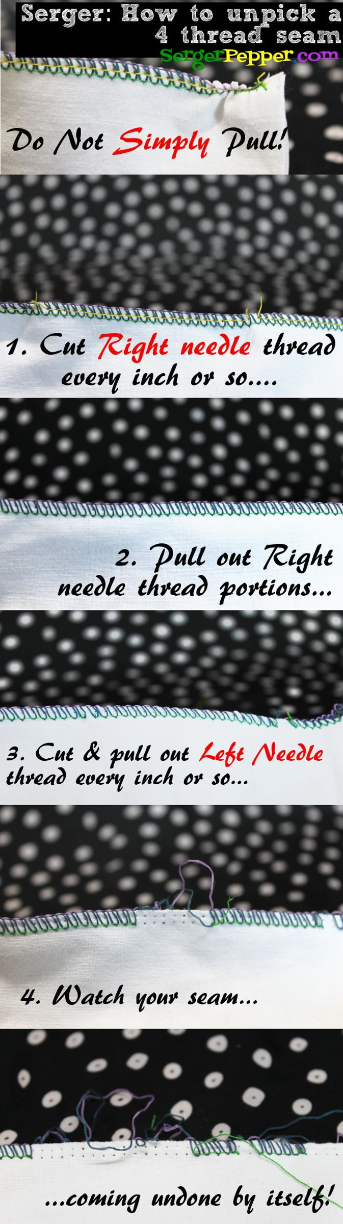 HOT TOPIC! How to unpick a serger seam (3 or 4 thread overlock) the right way! Pin it for future reference ;) And all the pics of a 4 thread seam with wrong tensions and HOw-TO FIX THEM! On SergerPepper.com